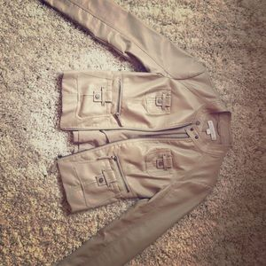 Tan leather jacket with pocket details